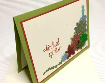 Kindred spirits succulent card friendship anniversary wedding love handmade stamped blank stationery greeting party supply pape