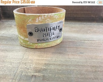 40% OFF- Stamped Leather Cuff-Scripture Cuff-Psalm 139-Mother's Day-Word Cuff-Wonderfully Made
