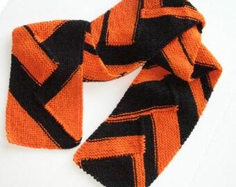 Team Spirit Scarf, Orange and Black Sports Team Scarf, Knit Bengals Scarf