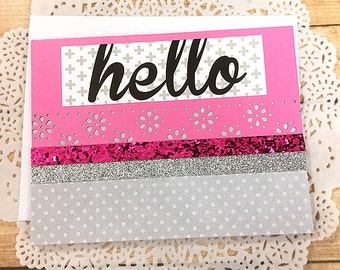 """Textured Pink and Grey Hello Greeting, Note Card, Glitter, Polka Dots, Flowers, Typography, Silver, Friend, Keep in Touch, Fun -5.5"""" x 4.25"""""""