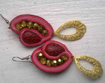 Pink, Red, and Gold Soutache Dangles