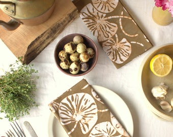 hand printed light brown napkins