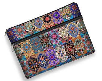 "Boho Chic 13 inch Laptop Sleeve 13.3"" MacBook Pro Case Laptop Case 13 Surface Book Laptop Bag Zipper Pocket Bohemian Kilim purple orange MTO"