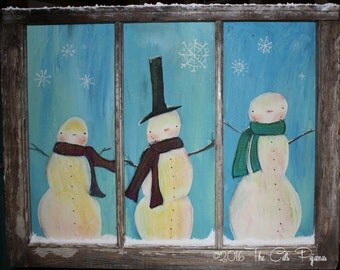 Hand painted Snowmen Scene in vintage Window with 3-D Snow