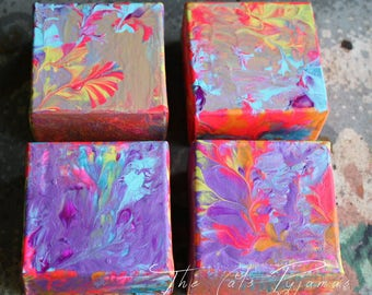 "Abstract Painting Grouping Set of 4 Neon Colors 3"" squares Swirls Marbled Wall Art Nursery Kid Art on thick canvas"