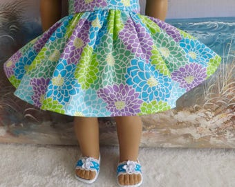 18 Inch Doll Skirt Will Fit American Mums featuring Turquoise Lime and Lavender Very Gathered