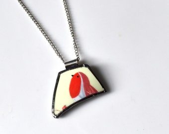 Broken China Jewelry Pendant - Red and Blue Bird