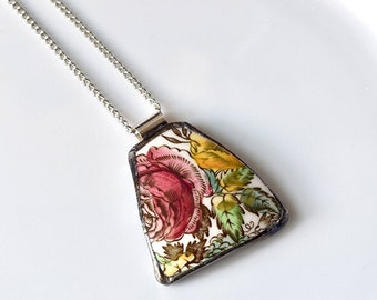 Broken China Jewelry Pendant - Red Rose