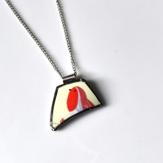 Broken China Jewelry Pendant - Red and Blue Bird