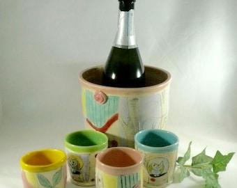 Ceramic wine chiller kitchen Utensil holder ice bucket planter Wedding Gift Wine accessory Woodland home decor for wife girlfriend lady