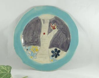 Handmade Ceramic Lunch Plate, Pottery Dish aspen tree art, Sandwich Plate, Salad Plate, Side Plate, Blue Dish, Cookie Plate
