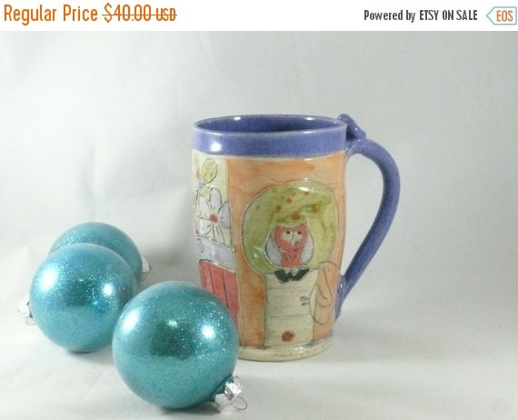 On Sale Today Large Coffee cup with owl , Ceramic Mug, tea cup, Cappuccino Mug, Latte Cup, Beer stein, tankard, artistic cup, Unique Coffee