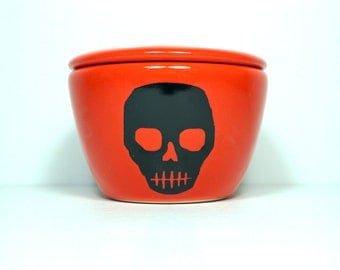 a lidded bowl / jar with a Voodoo Skull print shown here on a Clementine orange glaze - Made to Order/ Pick Your Colour / Pick Your Print