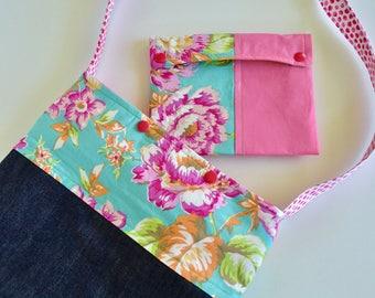 Girls Bag and Pouch - Little Girls Purse - Girls Church Bag - Girls Scripture Bag - Girls Purse - Blue Pink Girls Bag - Gift for Girls