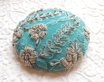 Turquoise silver beaded embroidered  fabric covered button, size 100 button, 2.5 inches, 6.35 cm, 63.5mm