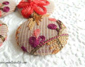 4 striped red pink white embroidered floral fabric buttons,  1 7/8 inches, 1.9 inches, 4.7 cm, 48.26 mm, size 75 buttons