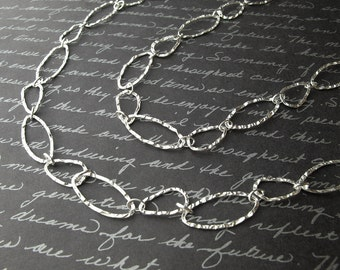double layer links necklace - sterling silver hammered linked chain necklace