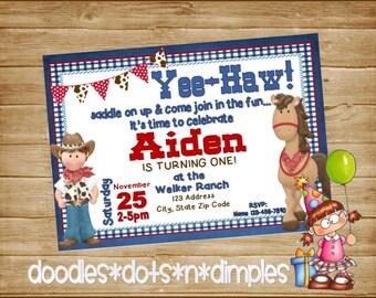 Personalized  Printable Cowboy Birthday Invitation