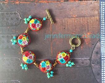reserved for k - fiesta garden parade -turquoise charm bracelet