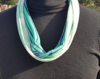 Teal, Blue and White Infinity Scarf with Lace Pocket- Upcycled T-shirt