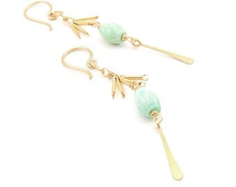 Trellis Earrings- turquoise, gold fill.