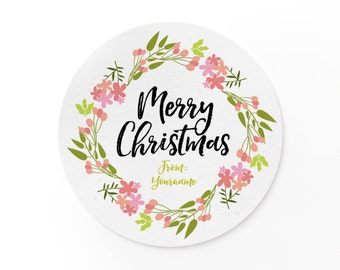 Custom Christmas Stickers  Christmas Labels   Custom Stickers   Personalized Stickers   Return Address Labels - Christmas Wreath 1