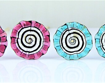 Blue and Pink Pinched Glass Disc Beads