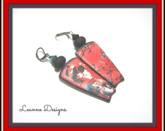Red and Black OOAK Earrings.  Artisan Poly Clay and Lampwork Earrings. Geisha Red and Black Earrings.
