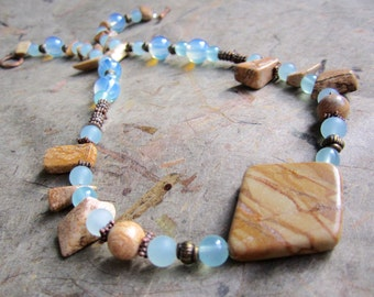 Opaline necklace with picture jasper point beads, larimar blue accents/ women's beaded, blue and brown stone jewelry with opalite