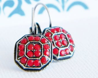 Antique Silver Red Coral Swarovski Victorian Style Lever back Earrings