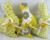 Fabric EASTER BUNNY Set of 3 Yellow Grey White, Stuffed Bunny, Bunny Tucks, Bowl Filler, Spring Easter Decor, Easter Ornie, Basket Filler