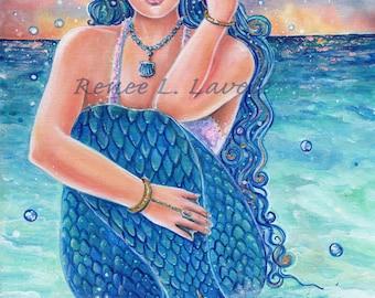 Tropical blue Mermaid  fantasy art  print of Original art by Renee L. Lavoie