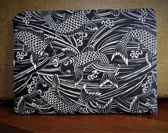 Cosmetic Makeup Zippered Bag Cotton Cloth Black and White Koi Fish Design Ready To Ship