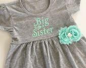 Big sister dress--- grey Aqua mint dress..