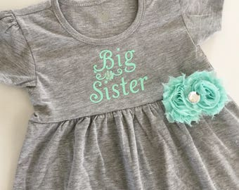 Big sister dress--- grey Aqua mint dress..