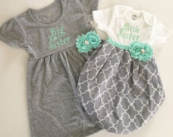 Big Sister little Sister OUTFITS .. Shabby chic mint aqua and grey dress and baby gown -sister Set..new baby..baby shower