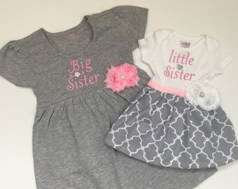 Big Sister Little Sister OUTFITS .. Shabby chic Pink and grey dress and baby onesie dress-sister Set..new baby..baby shower