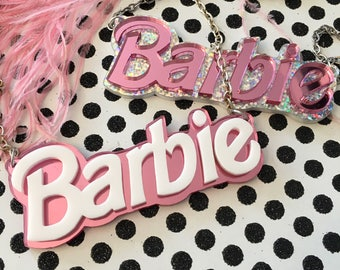 Barbie Acrylic Necklace in Silver Glitter or Pink Mirror
