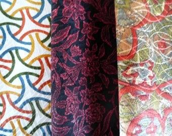 Craft Supply Fabric, Silk Kimono Japanese Scraps, Set of 3 Asian Textile, Vintage Recycled Kimono Fabric