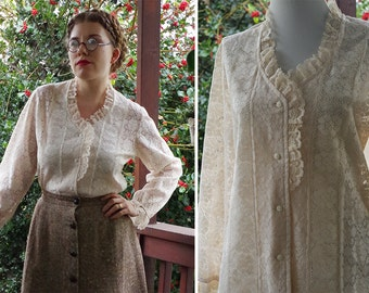 VICTORIAN Revival 1960's 70's Vintage Sheer Cream White Lace Collared Blouse with Ruffled Collar // size Medium Large