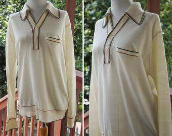 DEXTER 1970's 60's Men's Vintage Cream White Striped Knit Sweater Shirt with Pointed Collar + Long Sleeves // size Large 44 // by MARK IV