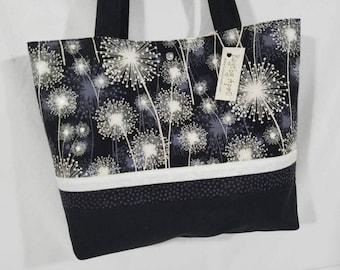 Black and White Dandelion purse tote bag handbag