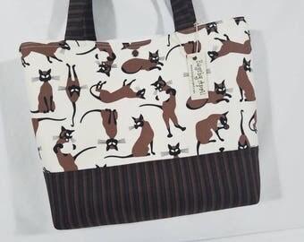 Siamese Cats purse tote bag