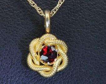 Vintage! 14K Gold Tiny Pendant with Garnet