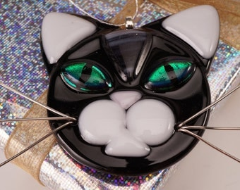 Black cat with white ears, cat glass ornament, cat lover, black cat
