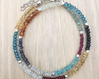 The Uzuri Collection- Facetted Beads of Labradorite, Garnet, Lemon Quartz, Sunstone, Iolite, Aquamarine, and Apatite