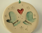 Pair of Mittens Light Blue and Watermelon Pink Holiday Ornament