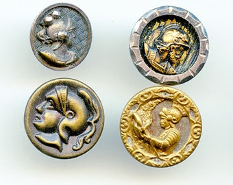 Lot of (4+) Victorian Antique Picture Buttons with Roman Warrior Heads Pictorial 3669