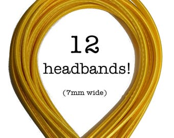 12 Yellow satin headbands - skinny satin headbands in BULK