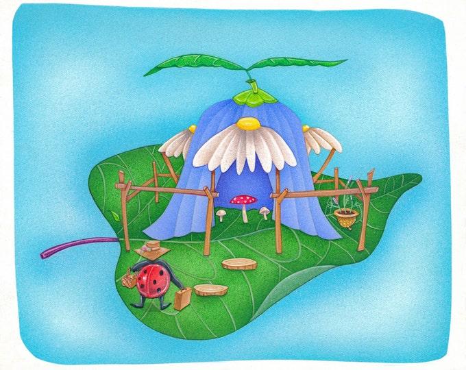 "LadyBug House FRAMED ART PRINT 8"" x 10"" Giclée"